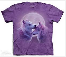 Shirt with image printed - moon, 2 wolves