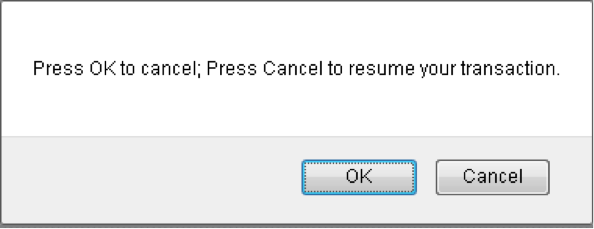 Dialog reads: press OK to cancel; press Cancel to resume.